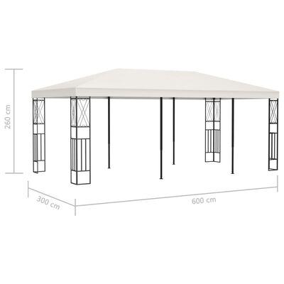 vidaXL Paviljong 3x6 m gräddvit tyg