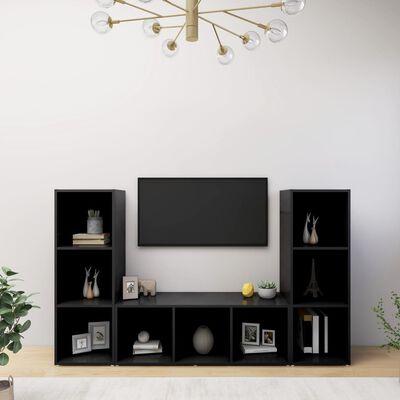 vidaXL TV-bänk 3 delar svart 107x35x37 cm spånskiva