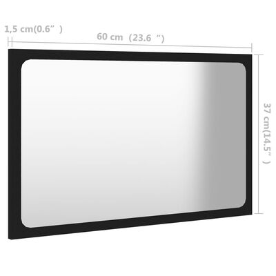 vidaXL Badrumsspegel svart 60x1,5x37 cm spånskiva