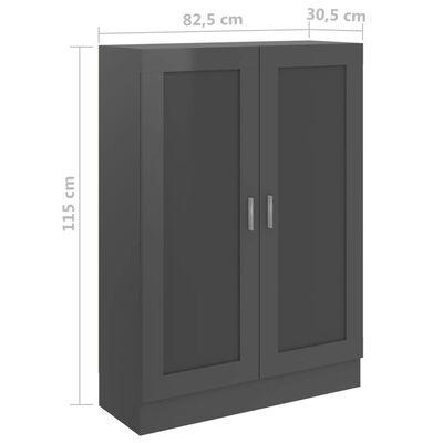 vidaXL Bokskåp grå högglans 82,5x30,5x115 cm spånskiva