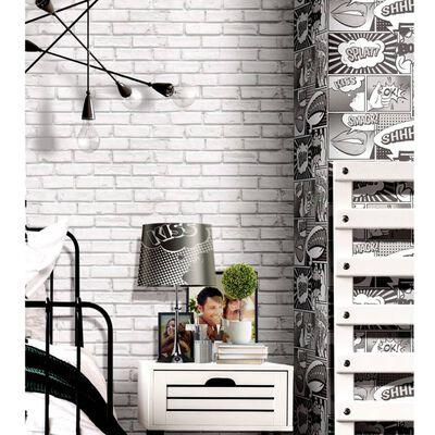 Urban Friends & Coffee Tapet tegelstenar grå och vit, Grey