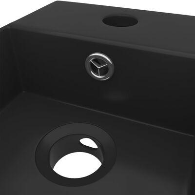 vidaXL Handfat med bräddavlopp keramik matt svart