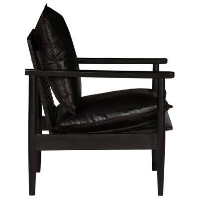 vidaXL Fåtölj svart äkta läder och akaciaträ