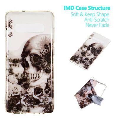 MTK Samsung Galaxy S10+ TPU  - Flowered Skull