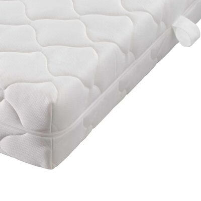 vidaXL Säng med madrass brun tyg 140x200 cm