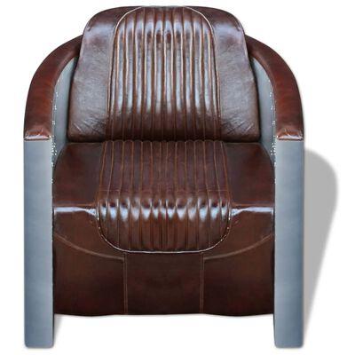 vidaXL Fåtölj mörkbrun äkta läder