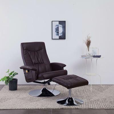 vidaXL Massagefåtölj med fotpall brun konstläder