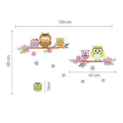 WALPLUS Dekal för barn ugglor och blommor 100x60cm flerfärgad