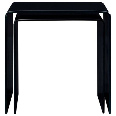 vidaXL Satsbord 2 st svart 42x42x41,5 cm härdat glas