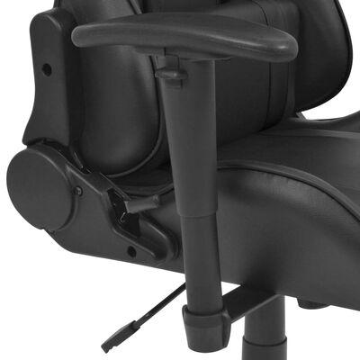 vidaXL Kontorsstol i sportbilsdesign med fotstöd svart
