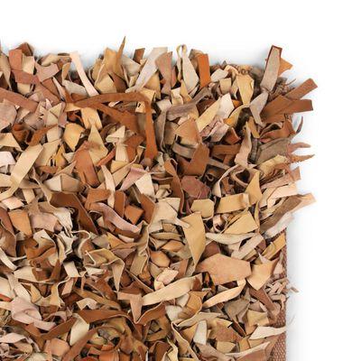 vidaXL Shaggy-matta äkta läder 120x170 cm ljusbrun