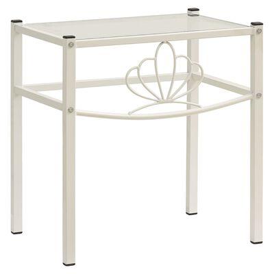 vidaXL Sängbord vit och transparent 42,5x33x44,5 cm metall och glas