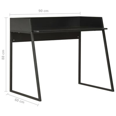 vidaXL Skrivbord svart 90x60x88 cm