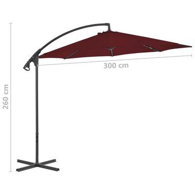 vidaXL Frihängande parasoll med stålstång 300 cm vinröd