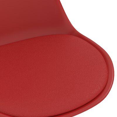 vidaXL Matstolar snurrbara 6 st röd konstläder