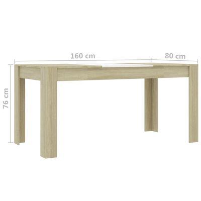 vidaXL Matbord vit och sonoma-ek 160x80x76 cm spånskiva