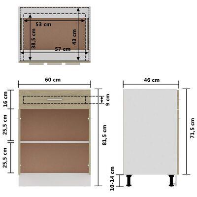 vidaXL Underskåp med låda sonoma-ek 60x46x81,5 cm spånskiva