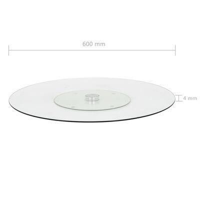 vidaXL Snurrbar serveringsbricka transparent 60 cm härdat glas