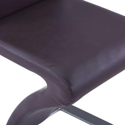 vidaXL Matstolar med sicksack-form 6 st brun konstläder
