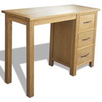 vidaXL Skrivbord med 3 lådor 106x40x75 cm massiv ek