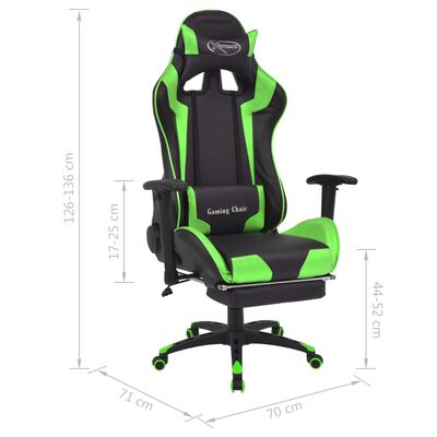 vidaXL Kontorsstol i sportbilsdesign med fotstöd grön