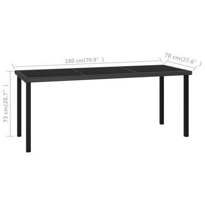 vidaXL Trädgårdsbord svart 180x70x73 cm konstrotting, Svart