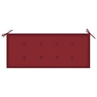 vidaXL Trädgårdsbänk med vinröd dyna 120 cm massiv teak
