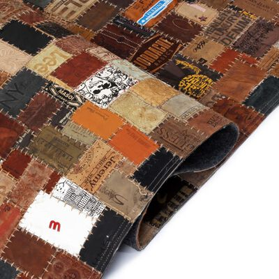 vidaXL Matta äkta läder lappade jeansetiketter 120x170 cm brun