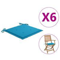 vidaXL Sittdynor för trädgården 6 st blå 40x40x4 cm tyg