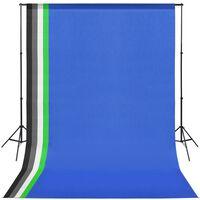 vidaXL Studioutrustning med 5 färgade bakgrunder och justerbart stativ