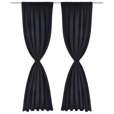 2-pack svarta gardiner med hyskupphängning 135 x 245 cm