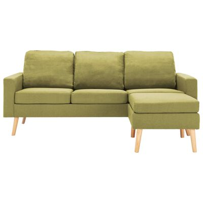 vidaXL 3-sitssoffa med fotpall grön tyg