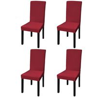 vidaXL Rakt elastiskt stolsöverdrag 4 st vinröd