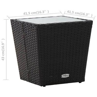 vidaXL Tebord svart 41,5x41,5x43 cm konstrotting och härdat glas
