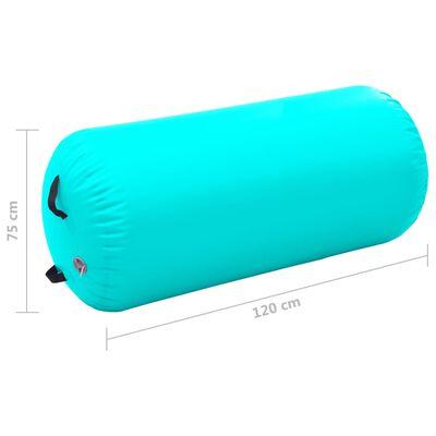vidaXL Uppblåsbar gymnastikrulle med pump 120x75 cm PVC grön