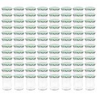 vidaXL Syltburkar i glas med vita och gröna lock 96 st 400 ml