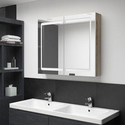 vidaXL Spegelskåp med LED vit och ek 80x12x68 cm