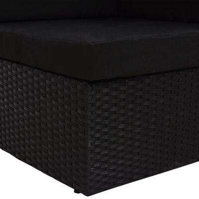 vidaXL Hörnsits till modulsoffa konstrotting svart