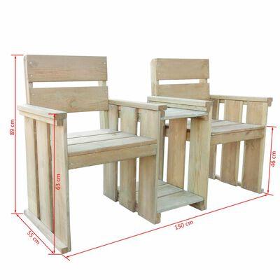 vidaXL Trädgårdsbänk 2-sits 150 cm impregnerad furu