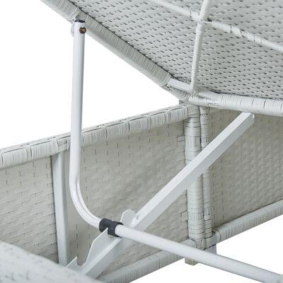 vidaXL Solsäng med dyna & bord konstrotting vit