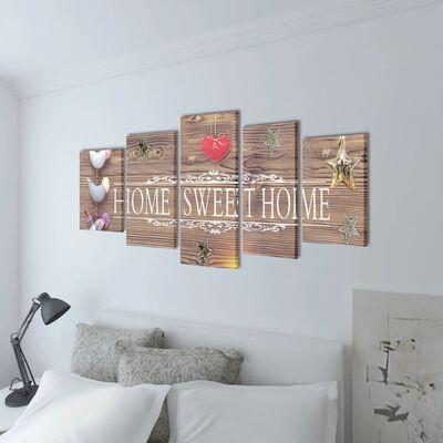 Uppsättning väggbonader på duk Home sweet home-design 200 x 100 cm