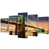 Uppsättning väggbonader på duk: Brooklyn Bridge 100 x 50 cm