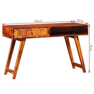 vidaXL Skrivbord massivt sheshamträ 118x50x76 cm