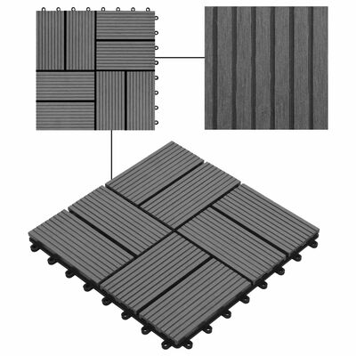 vidaXL Trall 11 st WPC 30x30 cm 1 kvm grå, Grey