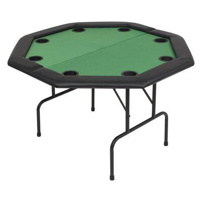 vidaXL Hopfällbart pokerbord 8 spelare åttkantigt 2-sidigt grönt