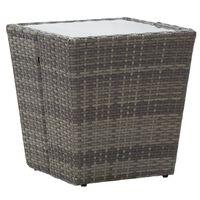 vidaXL Tebord grå 41,5x41,5x43 cm konstrotting och härdat glas