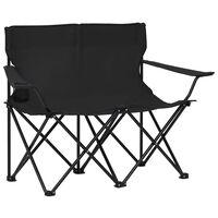vidaXL 2-sits hopfällbar campingstol stål och tyg svart