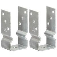 vidaXL Jordankare 2 st silver 7x6x15 cm galvaniserat stål