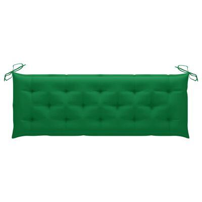 vidaXL Bataviabänk med grön dyna 150 cm massiv teak