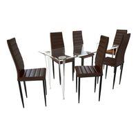 Matbord i glas med 6 st bruna slimmade stolar